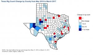 Aumento dei pozzi di estrazione in Texas suddivisi per contea